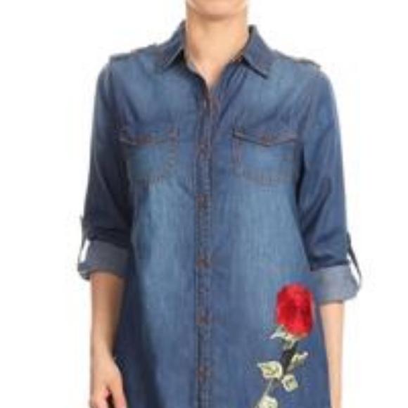 1a96856c21 NWT Chambray Denim Shirt Blouse